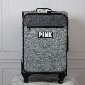 VS PINK VACAY Wheelie Spinner Suitcase Marl Gray